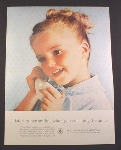 Magazine Ad for Bell Telephone, Little Girl, Listen To Her Smile, 1963, 10 1/2 by 13 3/4