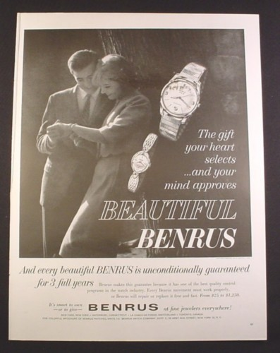 Magazine Ad for Benrus Watches, Men's & Ladies, 1963, 10 1/2 by 13 3/4