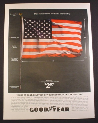 Magazine Ad for Goodyear, 50 Star American Flag Offer, 1963, 10 1/2 by 13 3/4