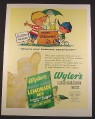 Magazine Ad for Wyler's Lemonade Mix, Boy with Lemonade Stand, 1963, 10 1/2 by 13 3/4
