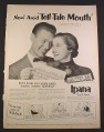 Magazine Ad for Ipana Tooth Paste, Avoid Tell Tale Mouth, Sheet Music, 1952, 10 3/8 by 14