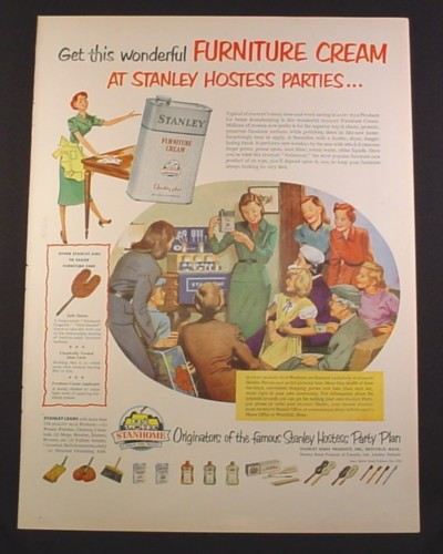 Magazine Ad for Stanley Furniture Cream, Stanley Hostess Parties, 1952, 10 3/8 by 14