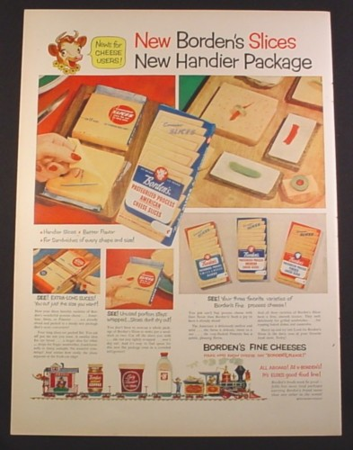 Magazine Ad for Borden's Cheese Slices, Train with Milk Products, 1952, 10 3/8 by 14
