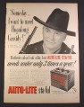Magazine Ad for Auto-Lite Sta-Ful Car Battery, Hopalong Cassidy, Celebrity, 1952, 10 3/8 by 14