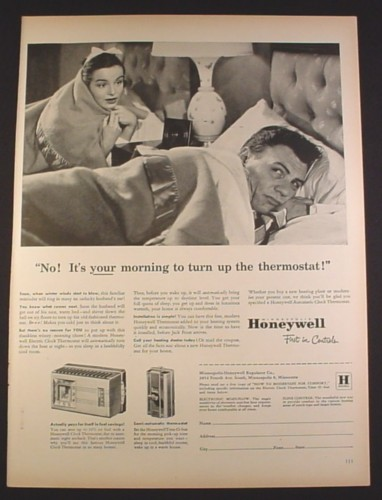 Magazine Ad for Honeywell Thermostats, Cold In Bed, Your Turn, 1952, 10 3/8 by 14