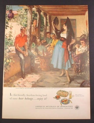 Magazine Ad for Beer Belongs, Fiesta Time In The Southwest, John Gannam #73 1952 10 3/8 by 14