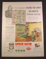 Magazine Ad for Spred Satin Paint, 180 Shades on Sample Board, 1952, 10 3/8 by 14