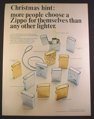Magazine Ad for Zippo Lighters, 12 Models Pictured, 1966, 10 3/8 by 13 5/8