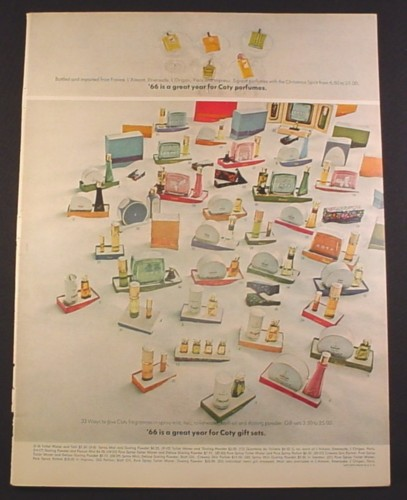 Magazine Ad for Coty Perfumes, Gift Sets, Huge Number of Sets, 1966, 10 3/8 by 13 5/8