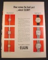 Magazine Ad for Elgin Watches, Lady Ursula Yvette Erika, Men's Slim James Yachtsman Lean Jim