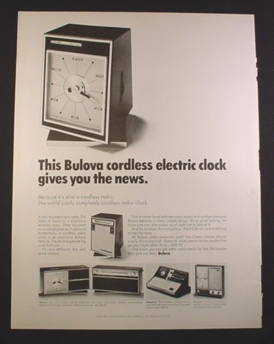 Magazine Ad for Bulova Cordless Clocks, Clock Radios, Galaxy Pioneer, 1966, 10 3/8 by 13 3/4