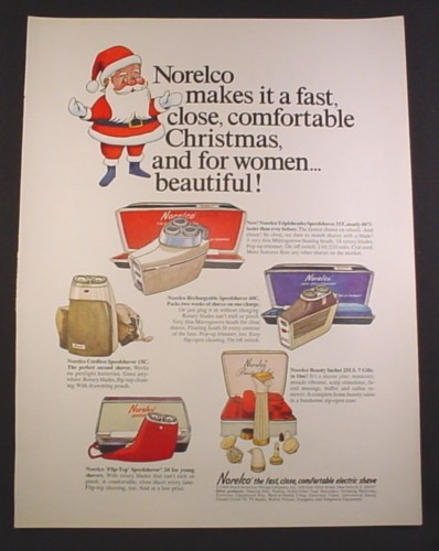Magazine Ad for Norelco Electric Razors, Speedshaver 35T 40C 15C, Beauty Sachet, 1966