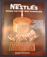 Magazine Ad for Nestle's Milk Chocolate Bar, Pot of Chocolate, 1967, 10 1/2 by 13 5/8