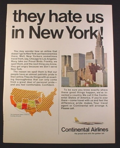 Magazine Ad for Continental Airlines, They Hate Us IN New York, 1967, 10 1/2 by 13 5/8