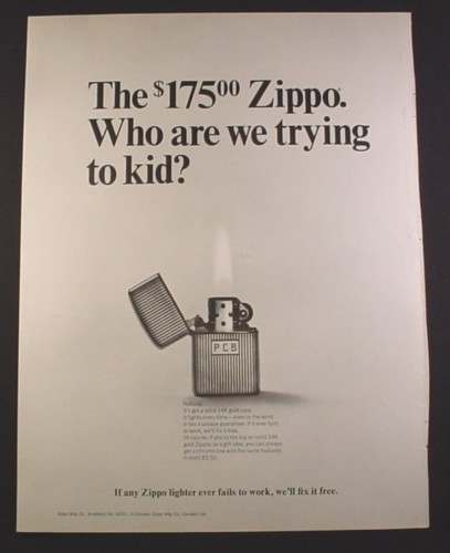 Magazine Ad for 175.00 Zippo Solid Gold Case PCB Lighter, 1967, 10 1/2 by 13 5/8