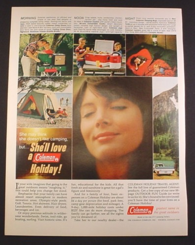 Magazine Ad for Coleman Camping Equipment, Holiday Travel Agent, 1967, 10 1/2 by 13 5/8