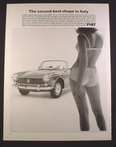 Magazine Ad for Fiat Sport Convertible Car, Girl in Bikini, Second Best Shape in Italy, 1964