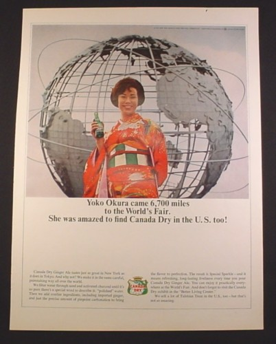 Magazine Ad for Canada Dry Ginger Ale, New York's World Fair, Yoko Okura, 1964, 10 1/2 by 13 3/4