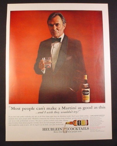 Magazine Ad for Heublein Cocktails, Most People Can't Make a Martini, James Mason, Celebrity