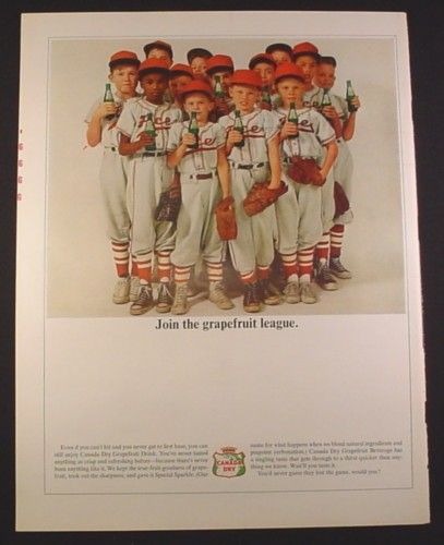 Magazine Ad for Canada Dry Grapefruit Drink, Boys Baseball Team, Grapefruit League