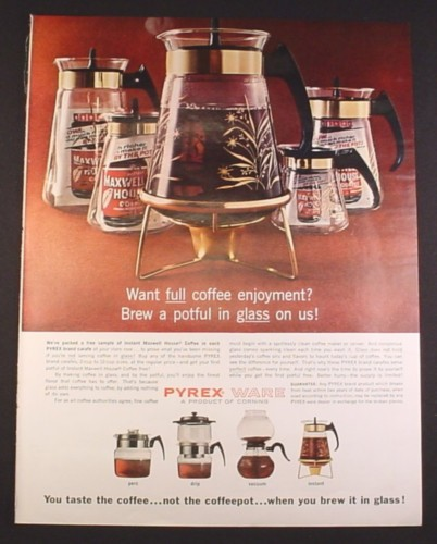 Magazine Ad for Pyrex Ware Glass Coffee Carafe Pots, Free Maxwell House, 1964, 10 1/2 by 13 3/4