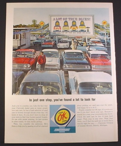 Magazine Ad for Chevrolet OK Used Care Car Lot, Large Sign, 1964, 10 1/2 by 13 3/4