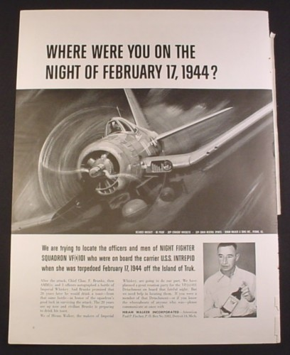 Magazine Ad for Reunion Party for Night Fighter SquadronVF101 of U.S.S. Intrepid, 1964