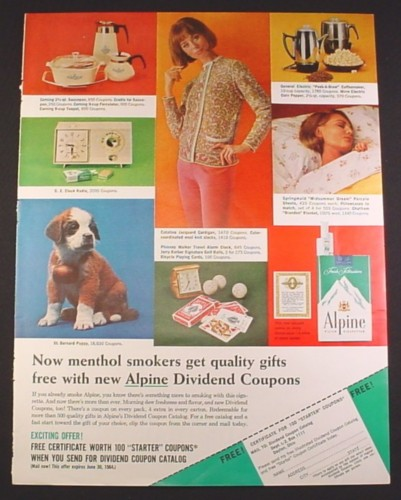 Magazine Ad for Alpine Cigarettes Dividend Coupon Offer, 1964, 10 1/2 by 13 3/4