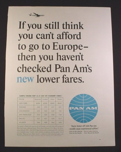 Magazine Ad for Pan Am Airline, Lower Fares to Europe, 1964, 10 1/2 by 13 3/4