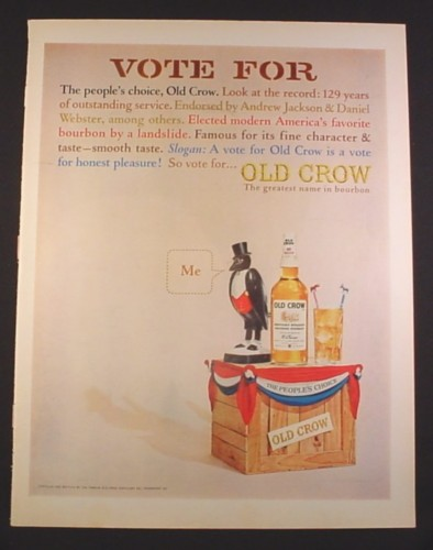 Magazine Ad for Old Crow Bourbon Whiskey, Vote For People's Choice, 1964, 10 1/2 by 13 3/4