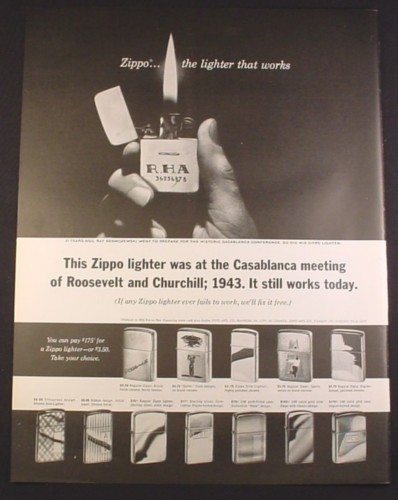 Magazine Ad for Zippo Lighters, 12 Models, Was At The Casablanca Meeting, 1964, 10 1/2 by 13 3/4