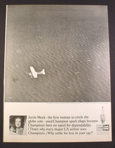 Magazine Ad for Champion Spark Plugs, Jerrie Mock, 1st Woman to Fly Around Globe, 1964