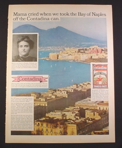 Magazine Ad for Contadina Tomato Paste, Mama Cried, Bay of Naples, 1964, 10 1/2 by 13 3/4