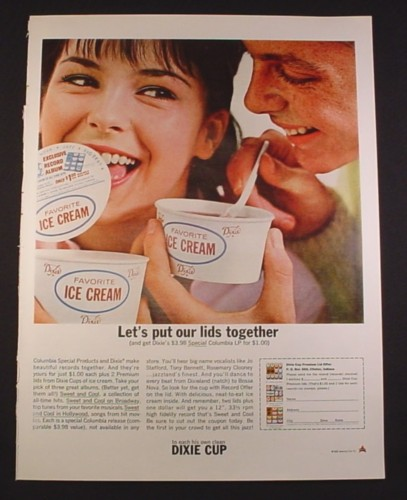 Magazine Ad for Dixie Cup Favorite Ice Cream, Lids, Columbia LP Offer, 1963, 10 3/8 by 13 5/8