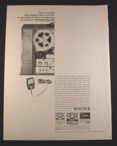 Magazine Ad for Webcor Squire Reel To Reel Player Recorder, 1963, 10 3/8 by 13 5/8