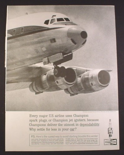 Magazine Ad for Champion Spark Plugs National Airlines DC-8 Airplane DC8, 1963 10 3/8 by 13 5/8
