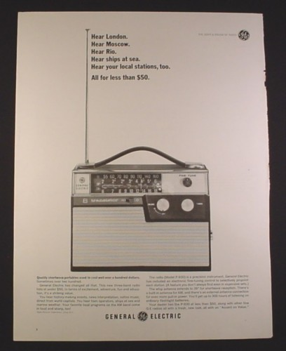 Magazine Ad for General Electric GE Model P-930 Shortwave Three Band Portable Radio, 1963