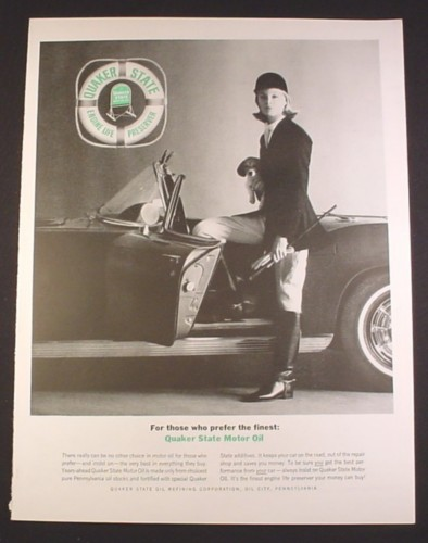 Magazine Ad for Quaker State Motor Oil, Woman in Equestrian Clothes, 1963, 10 3/8 by 13 5/8