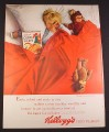 Magazine Ad for Kellogg's Corn Flakes Cereal Child in Bed with Stuffed Toys 1963 10 3/8 by 13 5/8