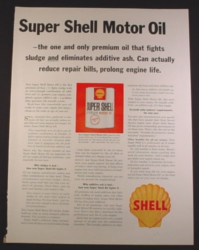 Magazine Ad for Super Shell Premium Motor Oil Can, Shell Sign, 1963, 10 3/8 by 13 5/8