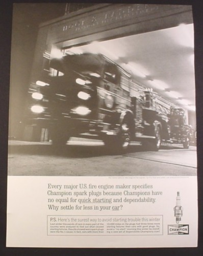 Magazine Ad for Champion Spark Plugs, Seagrave Hook & Ladder Fire Engines 1963 10 3/8 by 13 5/8