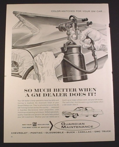 Magazine Ad for GM Guardian Maintenance, Spray Painting a Car, 1963, 10 3/8 by 13 5/8