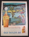 Magazine Ad for Old Taylor 86 Bourbon Whisky, Crystal Cut Decanter, 1963, 10 3/8 by 13 5/8