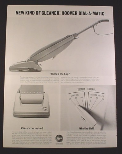 Magazine Ad for Hoover Dial-A-Matic Vacuum Cleaner, Dial, 1963, 10 3/8 by 13 5/8