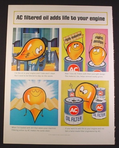 Magazine Ad for AC Oil Filters, Cartoon Drop of Oil, 1963, 10 3/8 by 13 5/8
