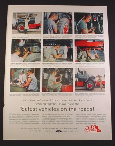 Magazine Ad for American Trucking Industry, Safest Vehicles On The Road, 1963, 10 3/8 by 13 5/8