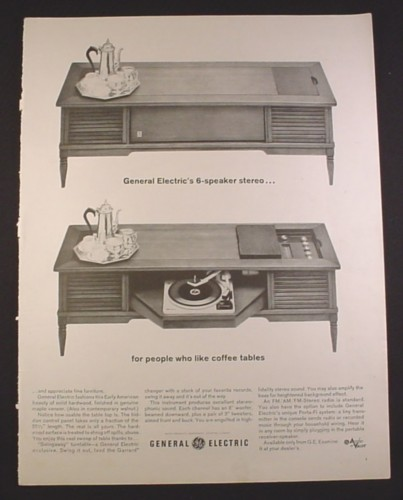 Magazine Ad for GE General Electric Coffee Table Stereo, Swingaway Turntable, 1963