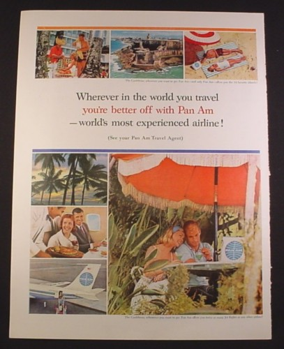 Magazine Ad for Pan American Pan Am Airline, The Caribbean, 727, 1963, 10 3/8 by 13 5/8