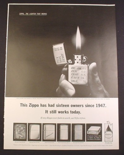 Magazine Ad for Zippo Lighters, 5 Styles, Beta Theta Pi, Knox College, 1963, 10 3/8 by 13 5/8