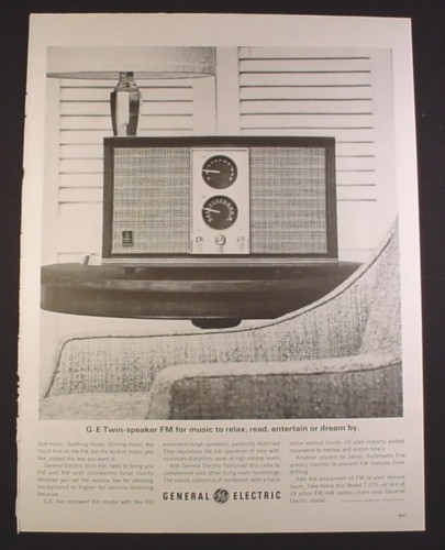Magazine Ad for General Electric Model T-270 Am FM Radio, 1963, 10 3/8 by 13 5/8